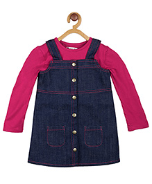 My Lil'Berry Front Open Pinafore With Tee - Blue & Pink