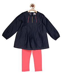 My Lil'Berry Box Pleat Dress With Leggings - Blue & Yellow