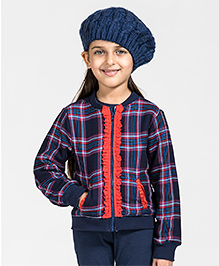 My Lil'Berry Ribbed Checks Bomber Jacket - Navy & Red