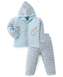 Little Darling Full Sleeves Winter Wear Hooded Suit - Mint Blue