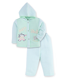Little Darling Full Sleeves Winter Wear Hooded Suit - Green