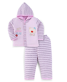 Little Darling Full Sleeves Winter Wear Hooded Suit - Pink