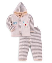 Little Darling Full Sleeves Winter Wear Hooded Suit - Peach