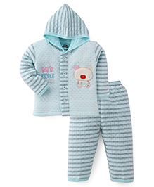 Little Darling Full Sleeves Winter Wear Hooded Suit - Blue
