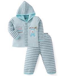 Little Darling Full Sleeves Printed Hooded Winter Wear Suit - Blue