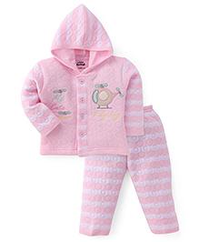 Little Darling Full Sleeves Winter Wear Hooded Suit - Pink