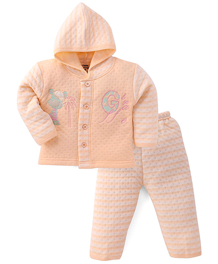 Little Darlings Hooded T-Shirt And Pant Set Embroidery - Peach