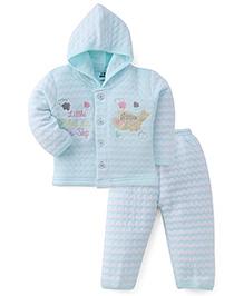 Little Darling Full Sleeves Winter Wear Hooded Suit - Blue