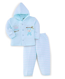 Little Darling Full Sleeves Winter Wear Hooded Suit - Turquoise