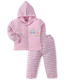 Little Darlings Hooded T-Shirt And Pant Set Car Embroidery - Pink