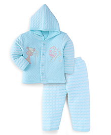 Little Darling Winter Wear Hippo Design Suit - Blue