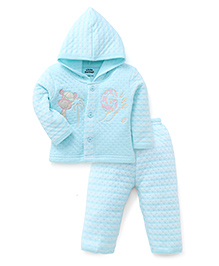 Little Darlings Hooded T-Shirt And Pant Set Embroidery - Turquoise
