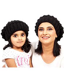 Magic Needles Girls Netted Beanie Mother & Daughter Cap Set - Black