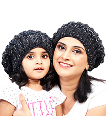 Magic Needles Girls Netted Beanie Mother & Daughter Cap Set - Faded Black