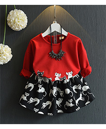 Petite Kids Cat Print Top & Skirt Set - Red