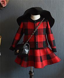 Pre Order - Petite Kids Checkered Top & Skirt Set - Black & Red