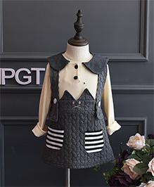 Pre Order - Petite Kids Autumn & Winter Wear Girls Dress Set - Grey