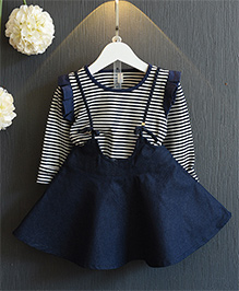 Superfie Striped Skirt Top Sets - Blue