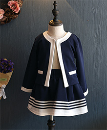 Superfie Jacket Style Top With Skirt Sets - Blue