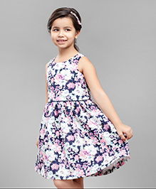 One Friday Girls Floral Printed Dress - White & Blue