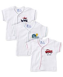 Pink Rabbit Printed Rabbit V Neck Vest Pack Of 3 - White