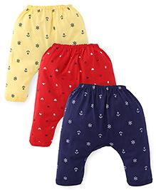 Pink Rabbit Printed Diaper Leggings Set Of 3 - Red Navy Yellow