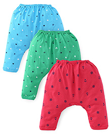 Pink Rabbit Printed Diaper Leggings Set Of 3 - Green Blue Pink