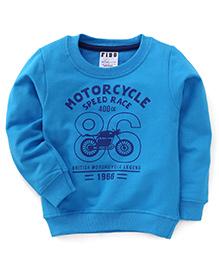 Fido Full Sleeves Printed Winter Wear T-Shirt - Blue