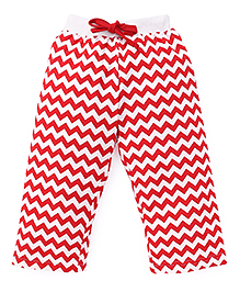 Fido Full Length Chevron Printed Leggings - Red Off White