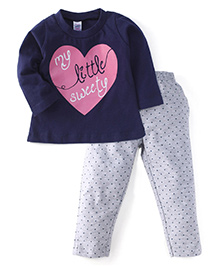 Pink Rabbit Full Sleeves Printed Top And Leggings - Navy Grey