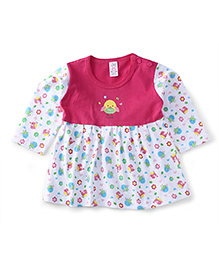 Pink Rabbit Full Sleeves Frock Sweet Chick Print - Pink