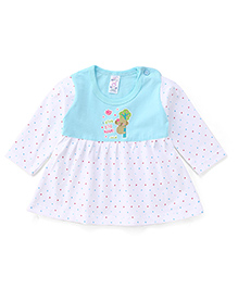 Pink Rabbit Full Sleeves Bear Print Frock - Blue White