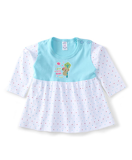 Pink Rabbit Full Sleeves Printed Frock - Blue White