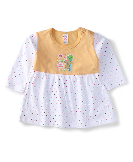 Pink Rabbit Full Sleeves Printed Frock - Yellow White