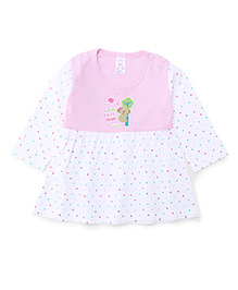 Pink Rabbit Full Sleeves Bear Print Frock - Pink And White