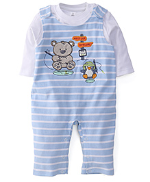 ToffyHouse Romper With Inner Tee Bear Patch - Light Blue And White