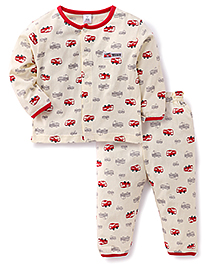 ToffyHouse Full Sleeves Night Suit Fire Truck Print - Cream And Red