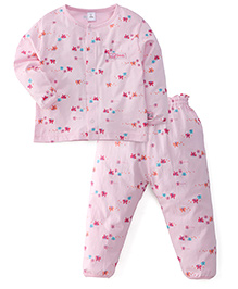 ToffyHouse Full Sleeves Night Suit Butterfly Print - Light Pink