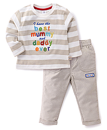 ToffyHouse Full Sleeves T-Shirt And Pant Set Embroidered Patch - Beige