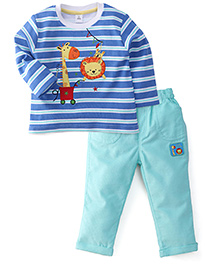 ToffyHouse Full Sleeves T-Shirt And Pant Set Animal Print - Royal Blue And Aqua