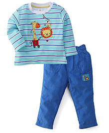 ToffyHouse Full Sleeves T-Shirt And Pant Set Animal Print - Sea Green & Blue