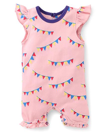 Pinehill Cap Sleeves Banner Style Print Romper - Pink