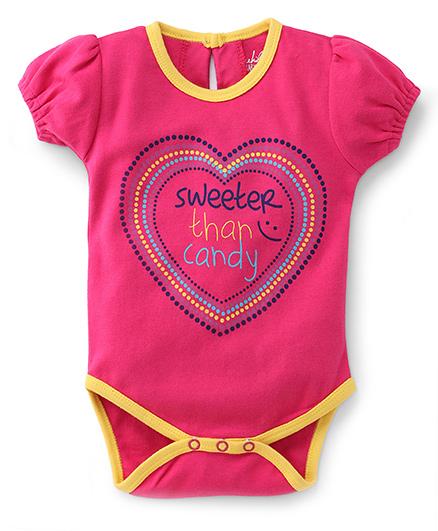 Pinehill Half Sleeves Sweeter Than Candy Printed Onesie - Pink