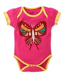 Pinehill Puff Sleeves Butterfly Print Onesie - Pink
