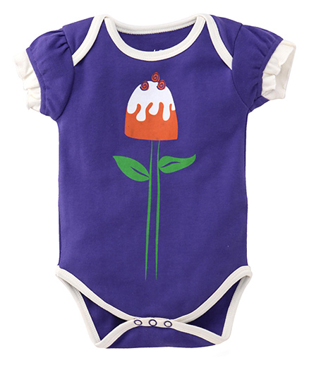 Pinehill Half Sleeves Onesie Flower Print - Purple