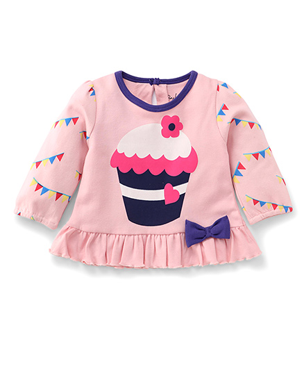 Pinehill Full Sleeves Cupcake Printed Top - Pink