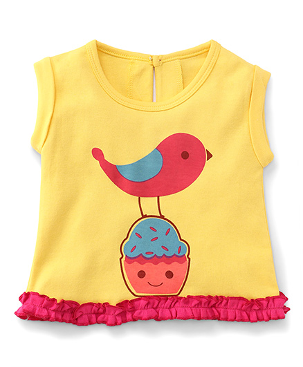 Pinehill Sleeveless Top Bird Print - Yellow