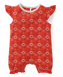 Pinehill Cap Sleeves Romper Floral Print - Orange