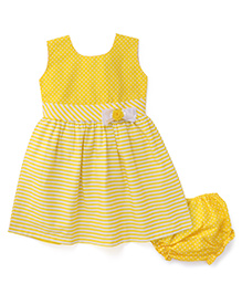 Babyhug Sleeveless Striped And Polka Dot Print Frock With Bloomer - Yellow