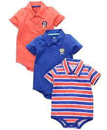Babyhug Half Sleeves Multi Print Onesies Pack Of 3 - Peach Blue
